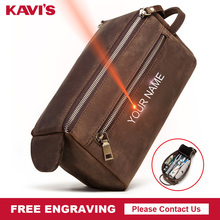 KAVIS Free Engraving Crazy Horse Genuine Leather Men Cosmeti