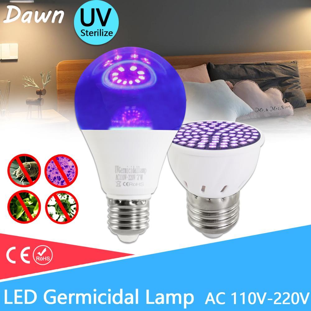 UV Germicidal Light LED Bulb GU10 E27 MR16 E14 UV Desinfection Lamp LED Sterilizer Lamp 2835 SMD 220V 240V Ultraviolet LED Bulb