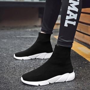 Image 3 - Chunky Sneakers wulkanizowane kobiety płaskie Stretch Knittin futro skarpety buty Plus Size mężczyźni panie krótkie buty platformy kobiece buty