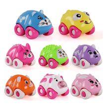 8PCS Push Sliding Car Magnetic Connection Toys Cute Cartoon Animal
