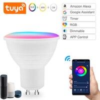 1-4pcs GU5.3/GU10 WiFi Smart Bulb LED light Cup 5W RGB + WW + CW supporto Tuya Alexa Google Home IFTTT telecomando lampada a Led