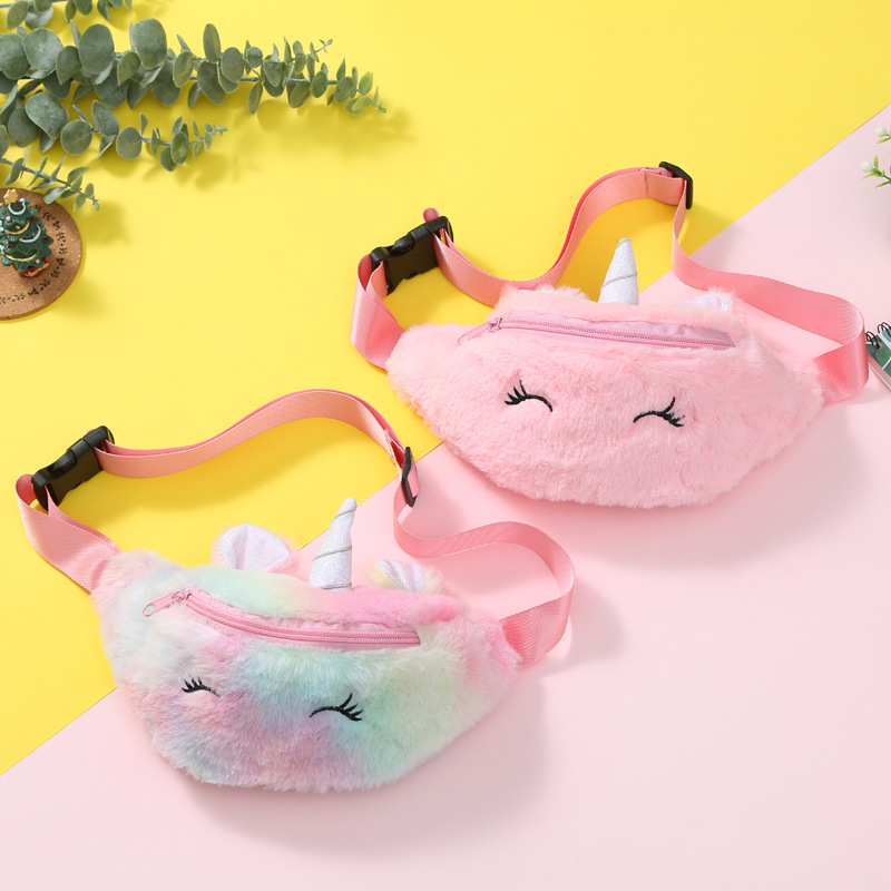 New Unicorn Winter Plush Fanny Packs Purse Baby Kids Cartoon Shoulder Messenger Bag Girl Student Sweet Chest Bag Gift