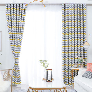Image 2 - Topfinel Geometric Wave Blackout Curtains For Living Room Modern Printed Yellow Blue Window Treatment Drapes Bedroom Curtains