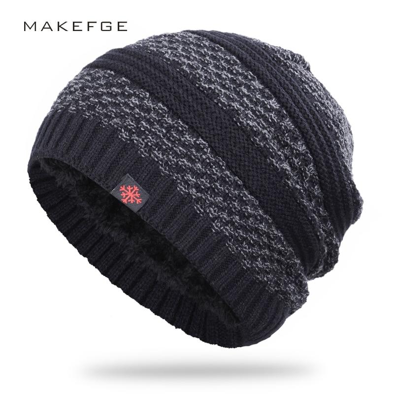 New Winter Warm Knit Hat Men And Women Cotton Hat Stripes Plus Velvet Thick Velvet Hat High Quality Cotton Men's Bones Winter