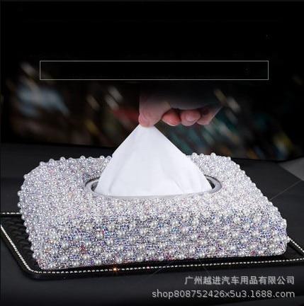 Car Pearl Tissue Box Cover Cute Women's South Korea Diamond Set Pearl Car Mounted Napkin Box Car Paper Extraction Box Seat Type
