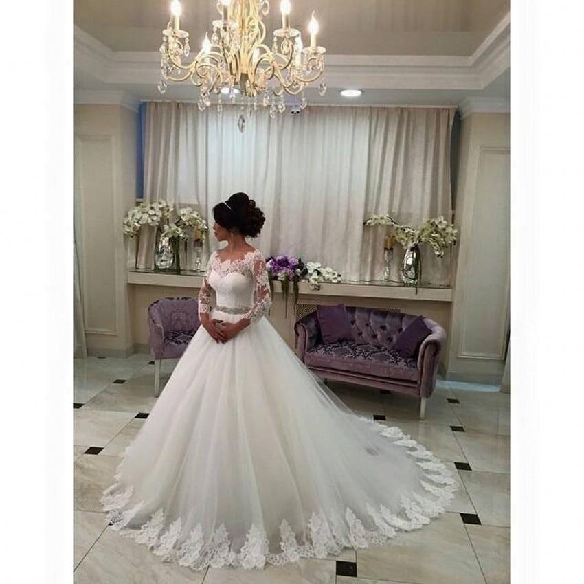 Wedding Dress 2015 Hot Sale Sweetangel Beaded A Line Long Sleeve Lace Wedding Dress Vestido De Noiva Robe De Mariage Bride Dress
