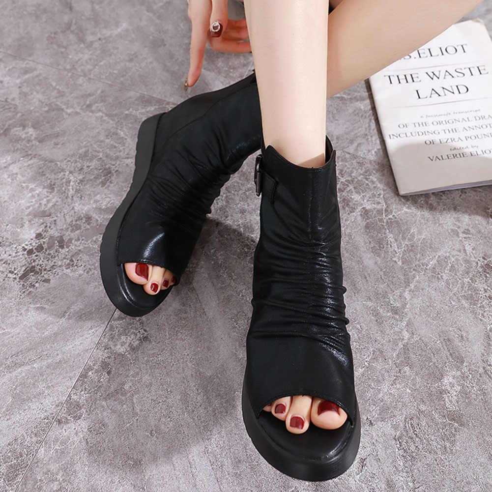 Karinluna 2020 Dropship en kaliteli Peep ayak iç topuklu moda bileğe kadar bot kadın ayakkabı kadın eğlence Zip Up yaz çizmeler kadın