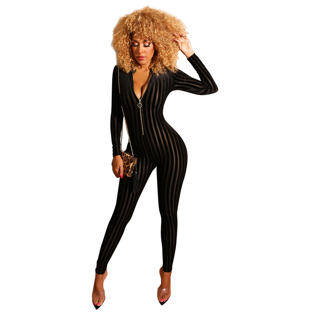 Echoine Velvet Patchwork Mesh Striped Jumpsuit Woman Long Sleeve Stand Neck Front Zipper Skinny Female Casual Bodycon Playsuits