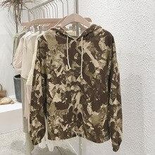 Mooirue Camouflage Hoodies Women Autumn Harajuku Plus Size Streetwear Sweatshirt Pockets Vintage Korean Style Casual Pullover