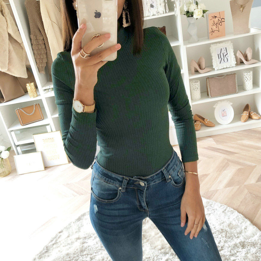 2019 Women Autumn Winter Sweater Bodysuits Solid Color High Collar Long Sleeve Office  Bodysuits  Lady Sexy Slim Jumpsuit