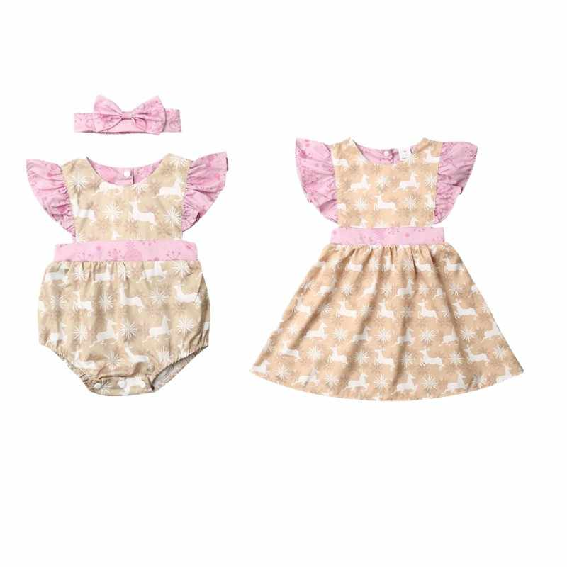 Christmas Clothes Sister Matching Kids Baby Girls Romper Dress Lace Sweet Toddler Girls Clothes for Xmas Outfits