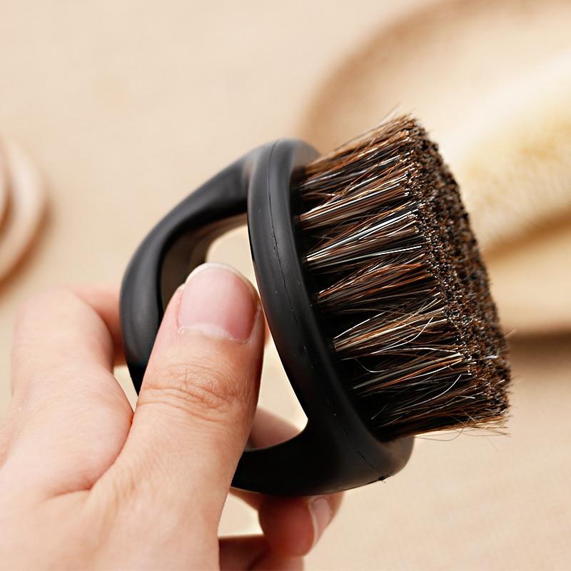 1 Pcs Ring Design Horse Bristle Men Shaving Brush Plastic Portable Barber Beard Brushes Salon Face Cleaning Razor Brush