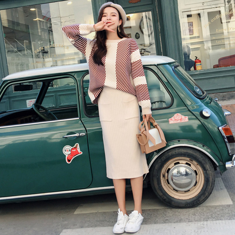 New 2019 Winter Knitted 2 Piece Woman Set Thick Striped Loose Sweater+Pencil Pocket Skirts Suit Office Lady Midi Two-pieces Set