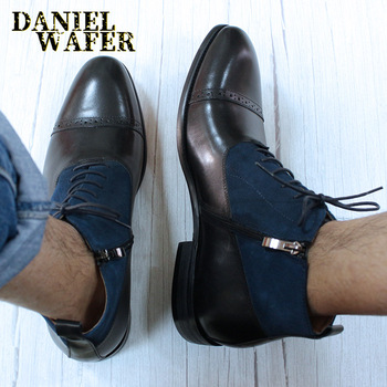 Luxury Men Dress Ankle Boots Suede patchwork Leather Basic Boots Black Brown Zip Lace Up Cap Toe Casual Dress Men Formal Shoes us6 10 crocodile grain round toe boots men full grain leather lace up office shoes retro winter man formal dress ankle boots