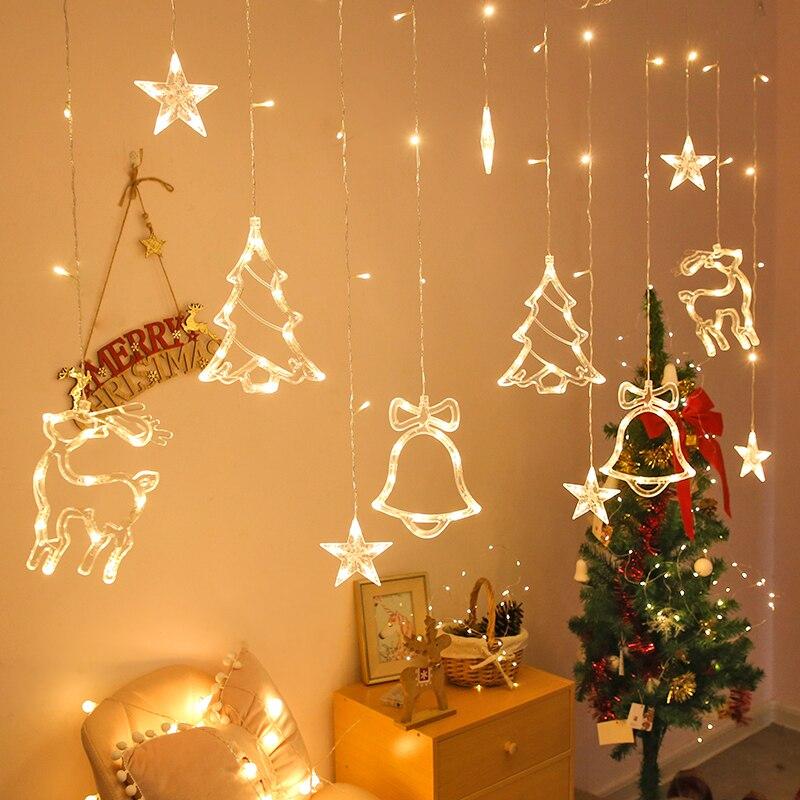 Christmas lights led 3 5m Curtain light garland star Bells decor for home 220V Fairy Lights Outdoor Indoor Festival String Light