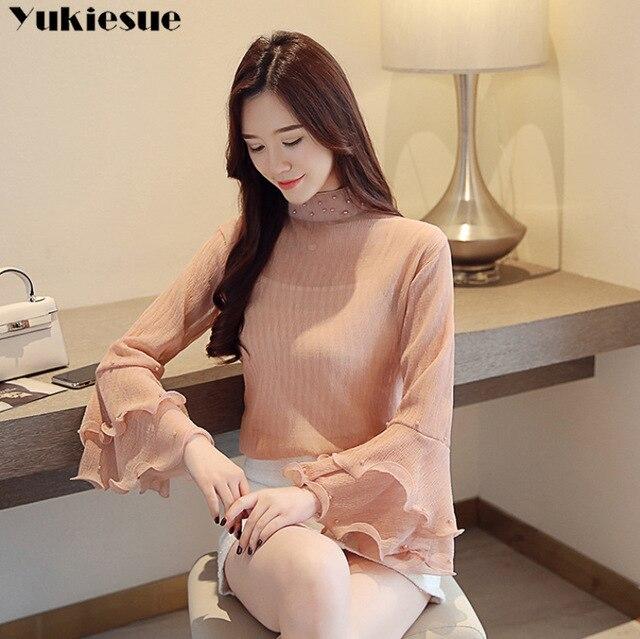 fashion womens blouses beading pink chiffon blouse shirt long sleeve women shirts womens tops and blouses blusas femininas 6