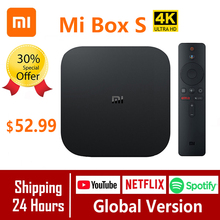 Xiao mi mi Box S النسخة العالمية 4K صندوق التلفزيون Cortex A53 رباعية النواة 64 بت مالي 450 أندرويد 2GB + 8GB HD mi 2.0 جوجل BT4.2 صندوق التلفزيون