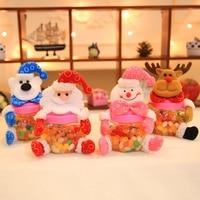 Empty Santa Claus Snowman Elk Bear Candy Packaging Candy Chocolates Jar Children Gift Christmas Favor 10 pcs/lot DEC435