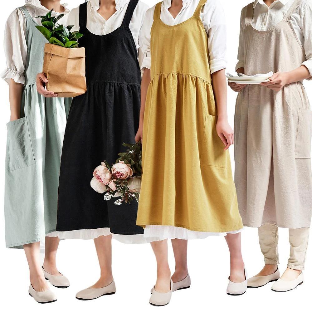Cat Print Style Women Cotton Linen Cross Back Apron Housework Wrap Dress New