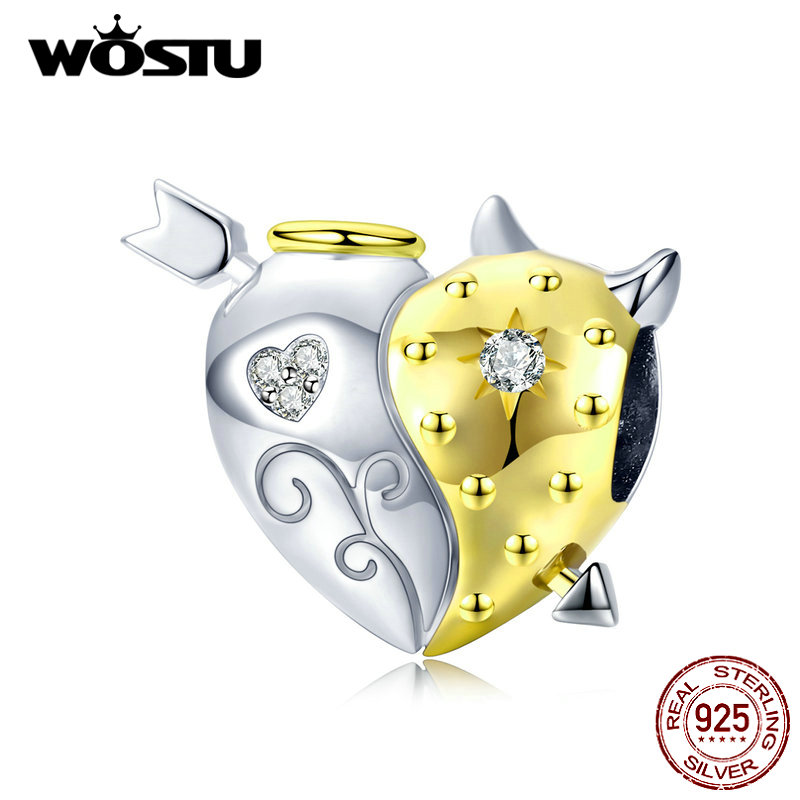 WOSTU Real 925 Sterling Silver Angel & Devil Beads Heart Gold Charms Pendant Fit Original Bracelet Bangles Jewelry Making CTC107