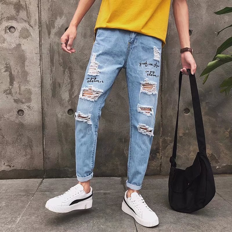 MEN'S Jeans Men's Spring And Autumn 2018 New Style With Holes Scraping Rotten Capri Korean-style Trend Slimming Summer Versatile