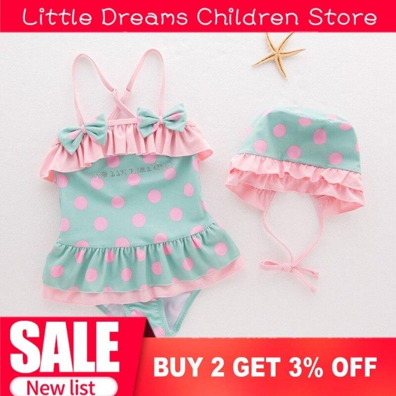 NEW Baby Girls Swimwear Swimsuit Pink Green Dot Bow Spots One Piece Baby Swimwear With Swim Hat Cute Kids Bathing Suit Infants