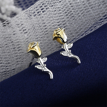 Hot Sale Rose Golden 5mm*12mm Small Studs Earrings 925 Sterling Silver For Women Female Free Shipping Boho Jewelry G776