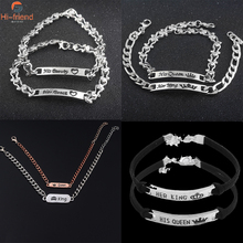 Fashion Jewelry Her King His Queen Chain Bracelet Bangle Silver and Rose Gold Plated Metal Couple for Lovers