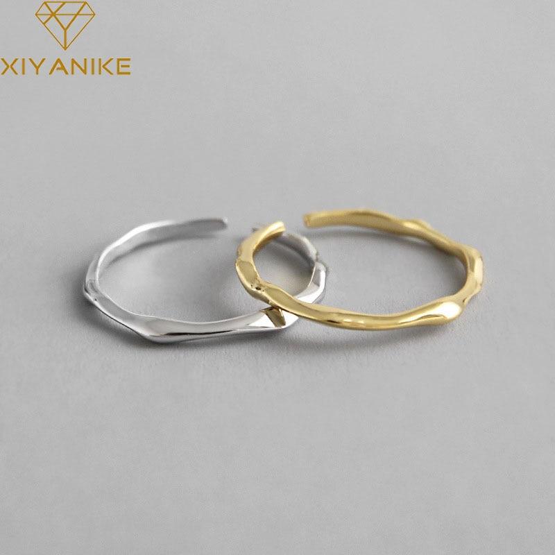 XIYANIKE 925 Sterling Silver HOT Sale Geometric Irregular Thin Ring Women Fashion Cool Smooth Minimalist Adjustable Ring Jewelry