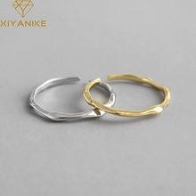 XIYANIKE 925 Sterling Silver vendita calda geometrica irregolare sottile anello donna moda Cool liscio minimalista anello regolabile gioielli