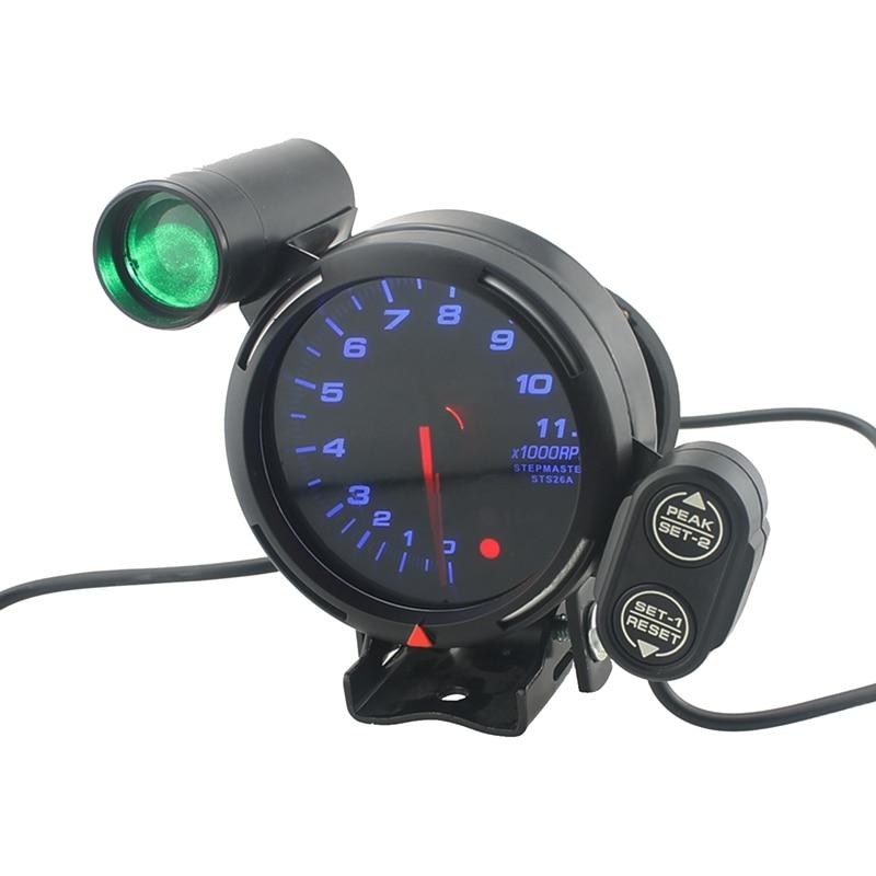 Tableau de bord de voiture 3.75 pouces 11000 tr/min 95mm Kit de jauge de tachymètre de vitesse avec changement de vitesse réglable Led bleu clair + accessoire de voiture pas à pas