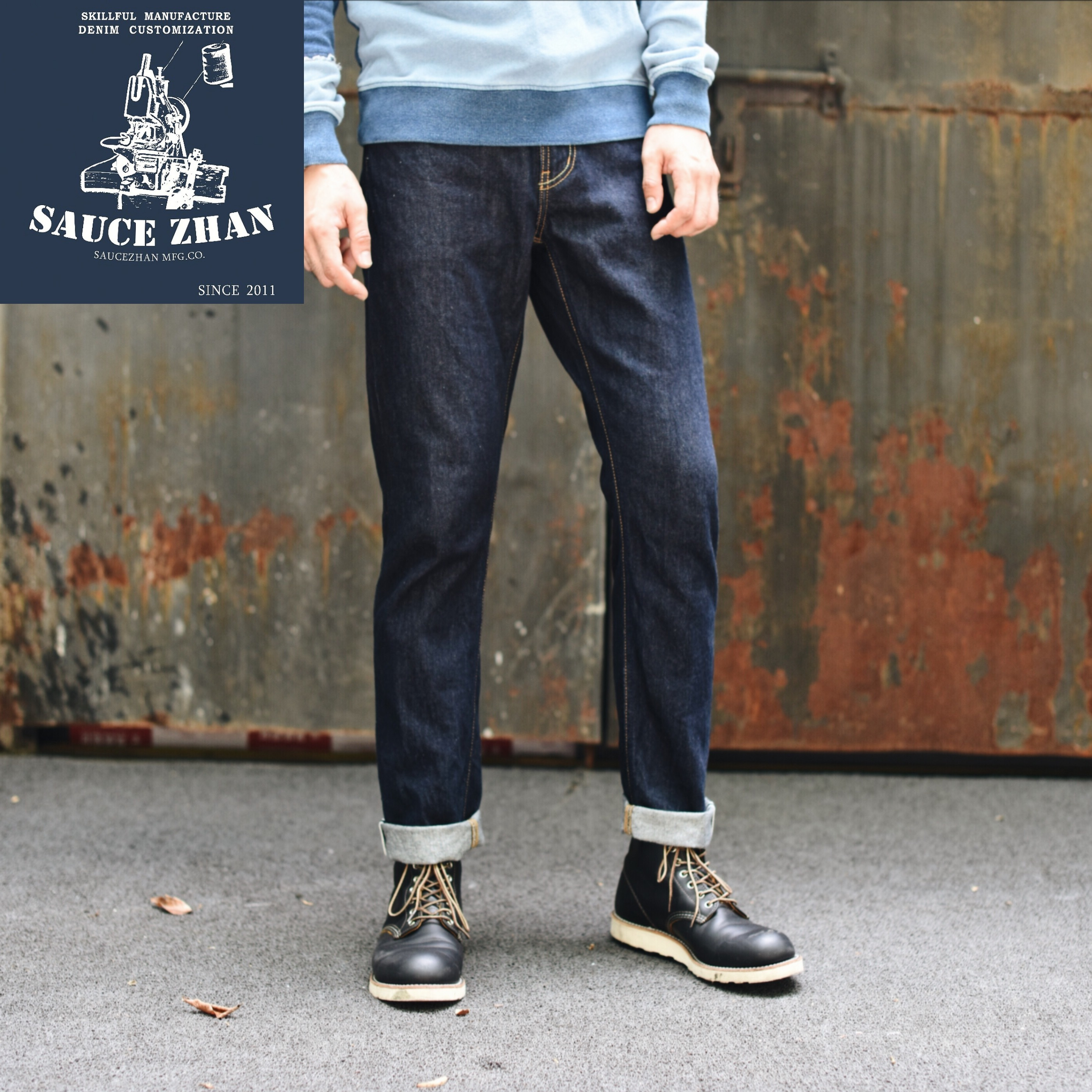 SELX Men Closed-Bottom Ruched Stylish Casual Slim Fit Jeans Denim Pants