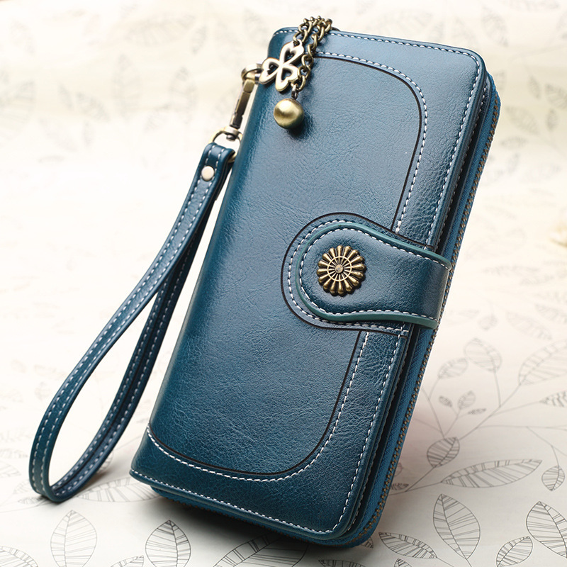 New Leather Women Wallet High Quality Zipper Purse Card Holder Coin Long Clutch Mobile Phone Bag Ladies Wallets Designer Purses