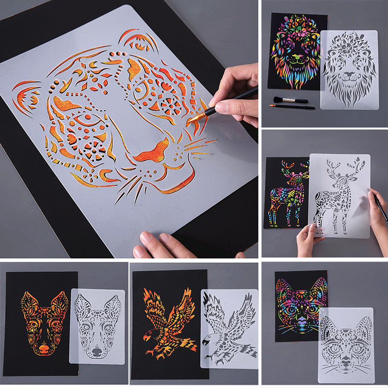 BalleenShiny Painting Kids Toys Stenciled Template DIY Scrapbooking Coloring Tiger Lion Elephat Ruler Child Educational Toys