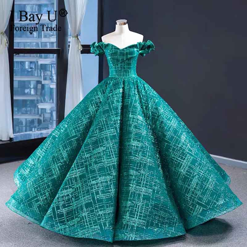 Sea Green Glitter Lace Off Shoulder Wedding Dresses 2020 Sexy Glitter Vintage Sleeveless Bridal Gown Dubai Puffy Gown