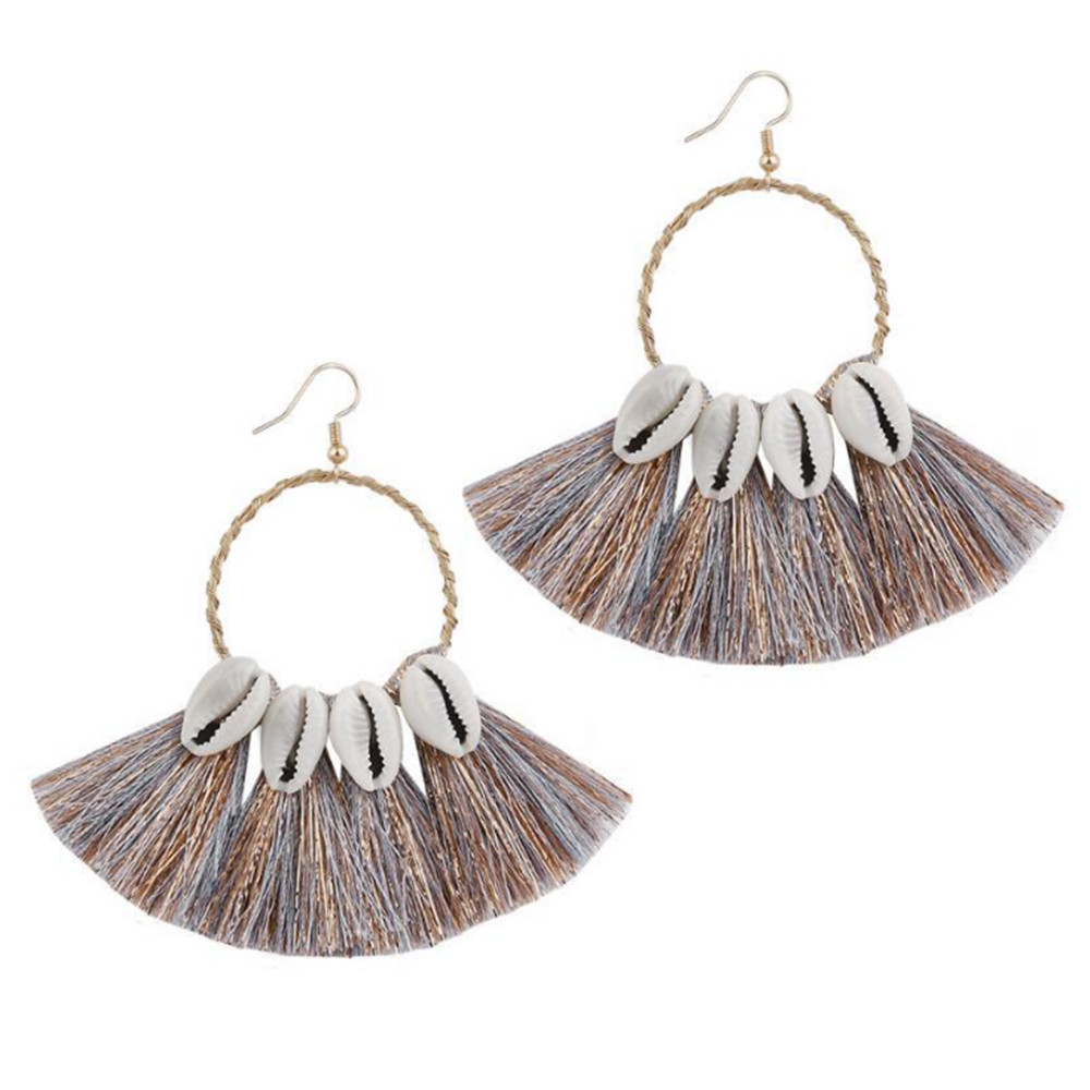 ECODAY Shell Tassel Earrings Long Boho Jewelry Drop for Women Brincos Fashion Earings Pendientes