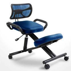 كرسي ركبة مصمم هندسيا مع ظهر ومقبض مكتب راكع كرسي مريح كرسي جلد أسود مع عجلة