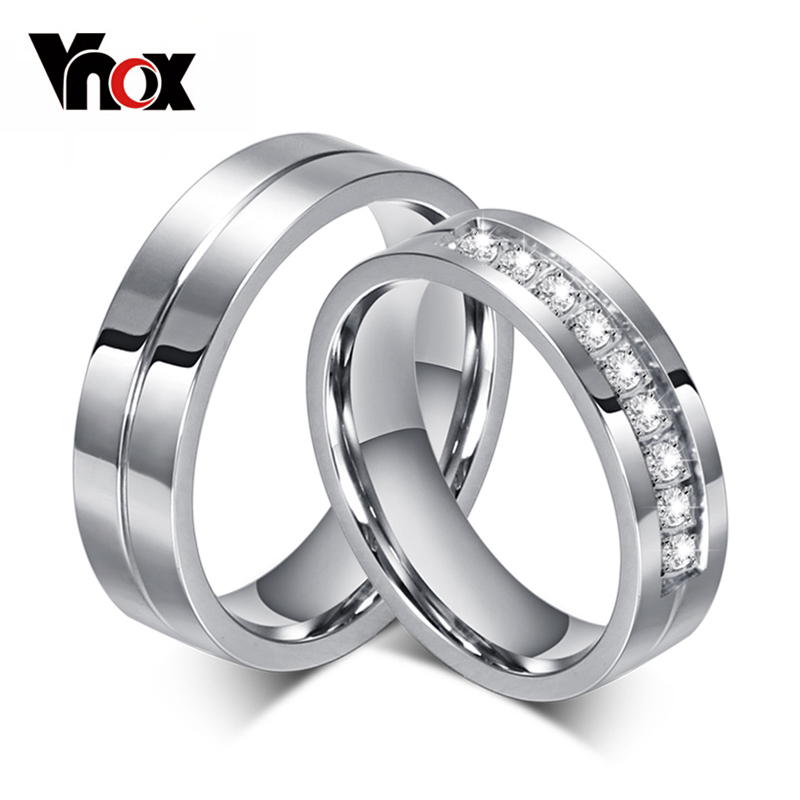 Vnox CZ Wedding Band Engagement Rings for Couples Women Men 316l Stainless Steel Lovers Personalized Anniversary Gift