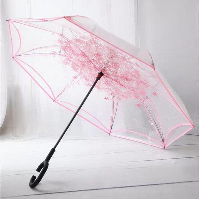 Inverted พับร่มย้อนกลับ Double Layer ร่มผ้าร่มสำหรับสตรี Unbrellas กันฝนกันฝน Windproof