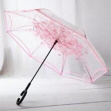 Omgekeerde Vouwen Reverse Paraplu Dubbele Laag Unbrella Doek Paraplu Voor Vrouwen Transparante Unbrellas Winddicht Regendicht