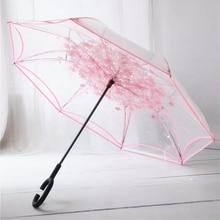 Paraguas invertida plegable de doble capa, paraguas de tela sin breteles para mujeres, paraguas transparente a prueba de viento y lluvia