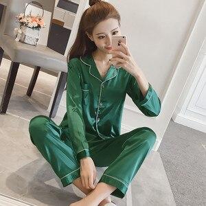 Image 5 - Womens Satin Pajamas Set Long Sleeve and Long Button Down Sleepwear Loungewear M 5XL
