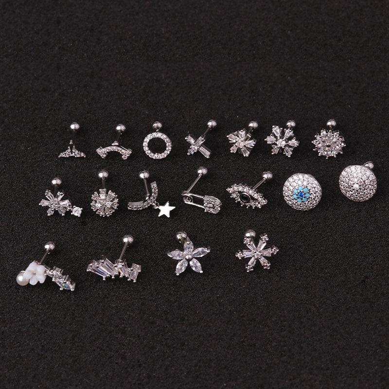 Feelgood 1Pc Delicate 20g Stainless Steel Ear Piercing Jewelry Cz Ear Tragus Conch Rook Lobe Cartilage Helix Earring Stud