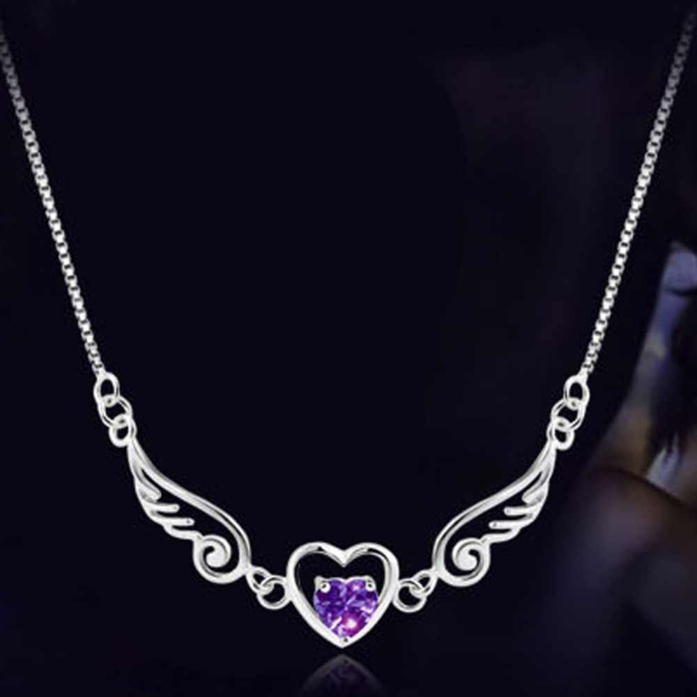 新エンジェルウィングラブハートペンダントネックレス色紫、白ドロップ配送トレンディな魅力的なジュエリー