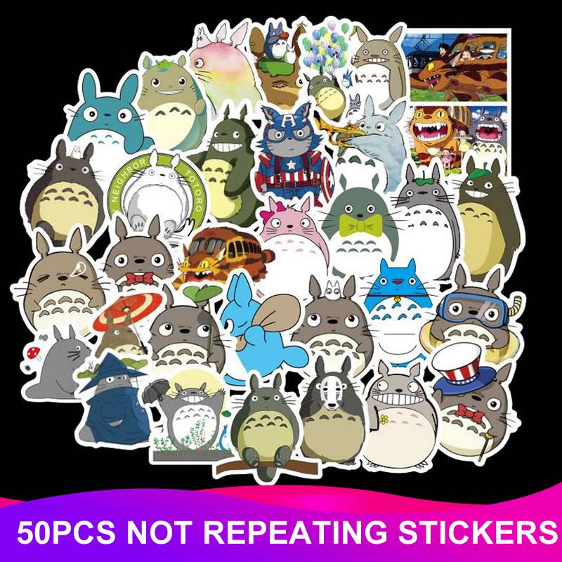 50pcs Pack Cartoon Totoro Stickers Kawaii Waterproof Skateboard Suitcase Moto font b Phone b font Laptop
