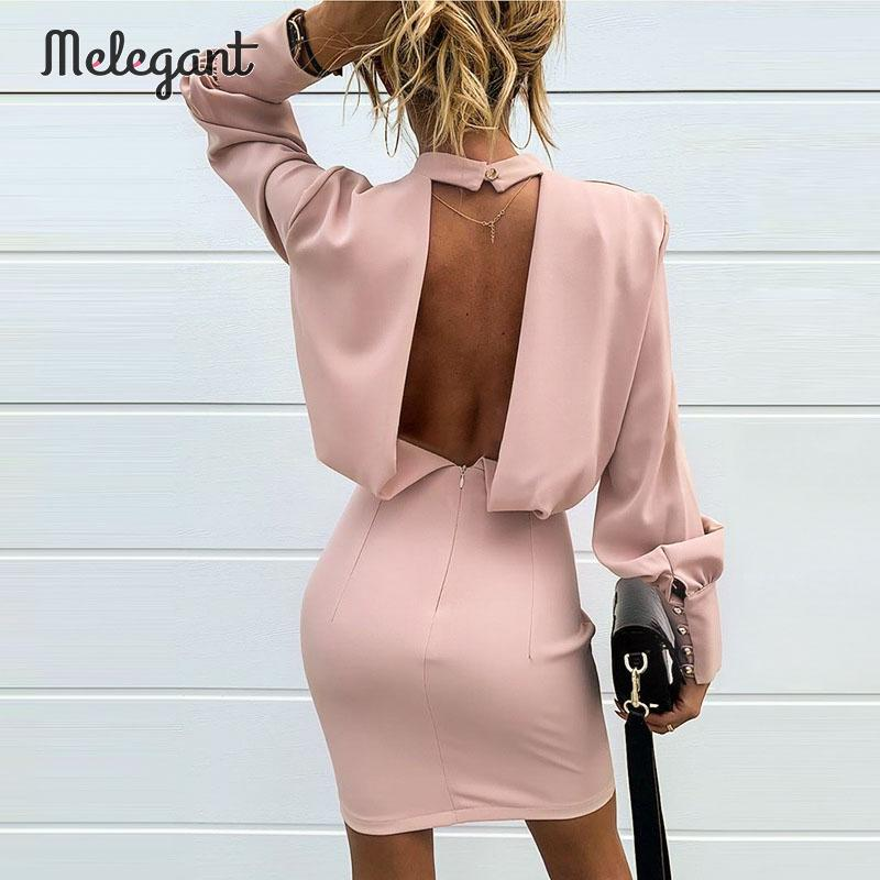 Melegant Pink Sexy Backless Club Dress Women 2019 Winter High Fashion Solid Bodycon Long Sleeve Party Dresses Ladies Vestidos