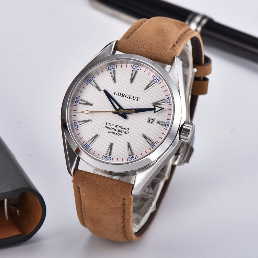 Corgeut 41mm Automatic Mechanical Mens Watch Leather Strap Luxury Brand Sapphire Luminous Waterproof Clock Casual Wristwatch Men 3