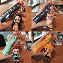 Anime TV Demon Slayer Keychain Brinco Blade of Ghost Key Chains Choker Kamado Tanjirou Same Jewelry Fans Brelok Badge Pin Gifts