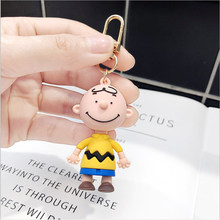 Cartoon Anime Keychains Charlie Brown Character Dolls Key Chain For Men's And Women's Bags Silicone Car Key Pendant Key rings(China)