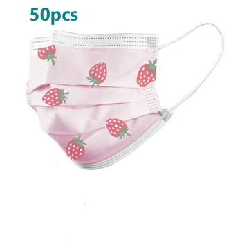 50Pcs Kids Child Disposable Cartoon Mouth Mask 3 Layer Breathable Children's Non Wovens Mask Thick Warm Face Earloop Mask
